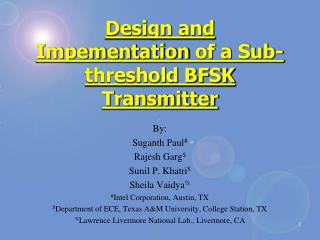 Design and  Impementation  of a Sub-threshold BFSK Transmitter