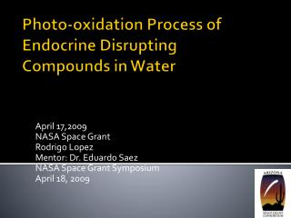 Photo-oxidation Process of Endocrine Disrupting Compounds in Water