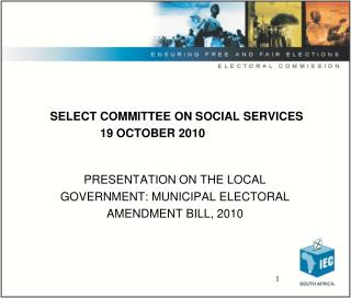 SELECT COMMITTEE ON SOCIAL SERVICES                       19 OCTOBER 2010