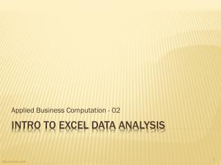 Intro to Excel Data Analysis