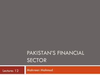 Pakistan's Financial sector