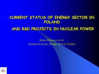 CURRENT STATUS OF ENERGY SECTOR IN POLAND  AND R &D PROJECTS IN NUCLEAR POWER