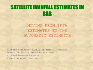 SATELLITE RAINFALL ESTIMATES IN SAB