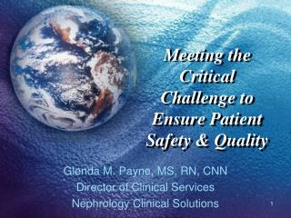 Meeting the Critical Challenge to Ensure Patient Safety & Quality