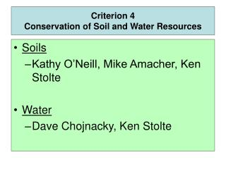 Criterion 4 Conservation of Soil and Water Resources