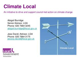 Climate Local An initiative to drive and support council-led action on climate change