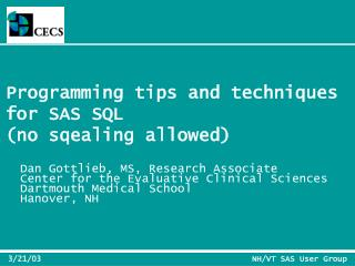 Programming tips and techniques  for SAS SQL (no sqealing allowed)
