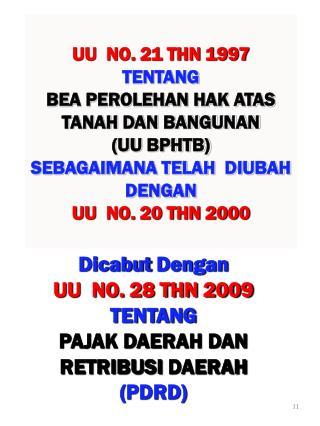 Dicabut Dengan UU  NO. 28 THN 2009 tentang PAJAK DAERAH Dan  retribusi daerah ( pdrd )