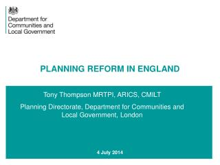 PLANNING REFORM IN ENGLAND