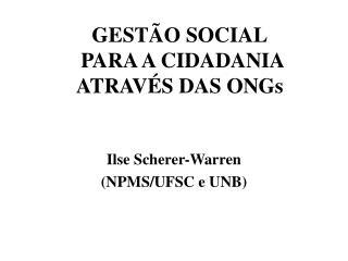 GESTÃO SOCIAL  PARA A CIDADANIA ATRAVÉS DAS ONGs