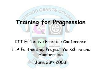 Training for Progression ITT Effective Practice Conference