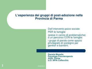 L ' esperienza dei gruppi di post-adozione nella Provincia di Parma