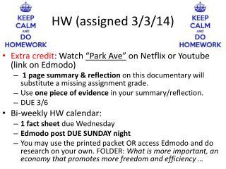 HW (assigned 3/3/14)