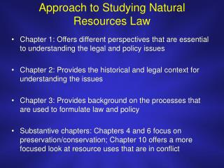 Approach to Studying Natural Resources Law