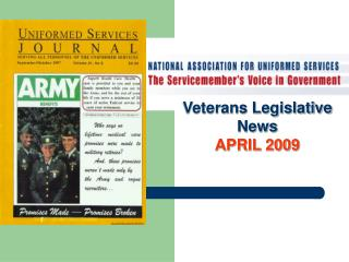 Veterans Legislative News APRIL 2009