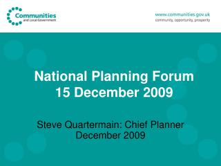 National Planning Forum 15 December 2009