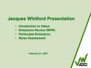 Jacques Whitford Presentation