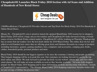 Cheapdeals101 Launches Black Friday 2010 Section with Ad Sca