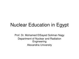 Nuclear Education in Egypt