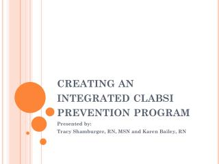 creating an integrated clabsi prevention program