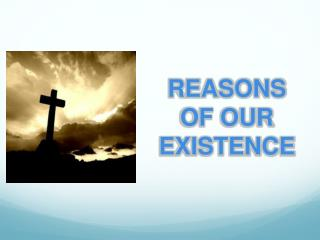 REASONS   OF OUR EXISTENCE