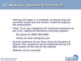 Webinar General Information