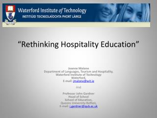 """Rethinking Hospitality Education"""
