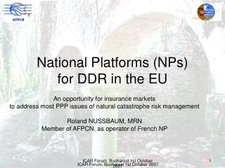 National Platforms (NPs) for DDR in the EU