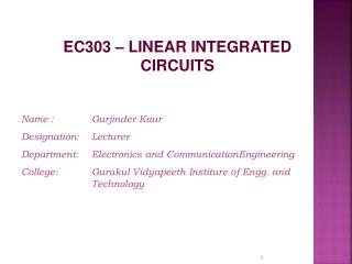 EC303 � LINEAR INTEGRATED CIRCUITS