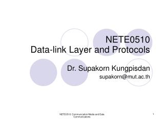 NETE0510 Data-link Layer and Protocols