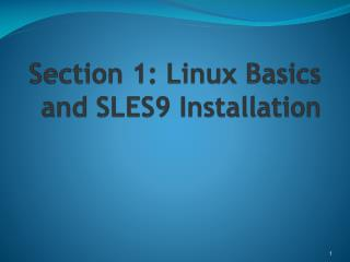 Section 1: Linux Basics and SLES9 Installation