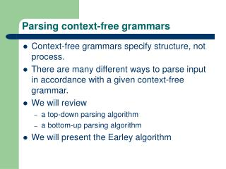 Parsing context-free grammars