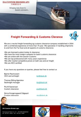 Freight Forwarding & Customs Clerance