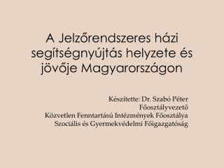 A Jelzőrendszeres házi segítségnyújtás helyzete és jövője Magyarországon