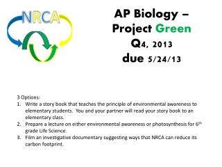 AP Biology � Project  Green Q4, 2013 due 5/24/13