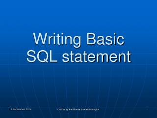 Writing Basic  SQL statement