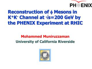 Reconstruction of  f  Mesons in K + K -  Channel at  s=200 GeV  by the PHENIX Experiment at RHIC