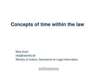 Concepts of time within the law