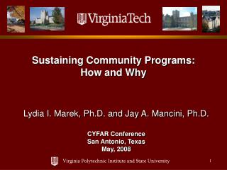 Sustaining Community Programs: How and Why