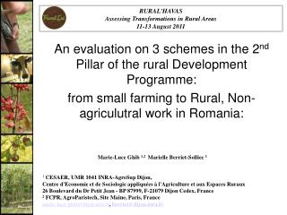 An evaluation on 3 schemes in the 2 nd  Pillar of the rural Development Programme: