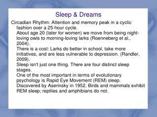 Sleep & Dreams