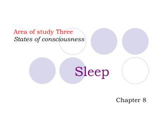 Area of study Three States of consciousness