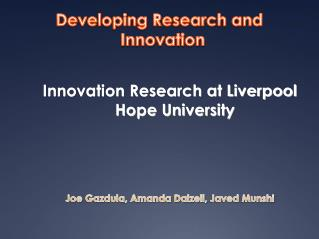 Developing Research and Innovation