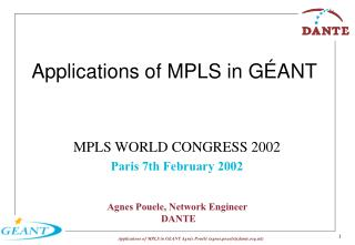 Applications of MPLS in GÉANT