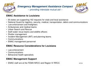 Emergency Management Assistance Compact -- providing interstate mutual aid --