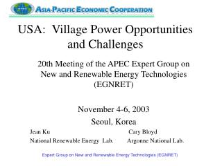 USA:  Village Power Opportunities and Challenges