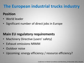 The European industrial trucks industry