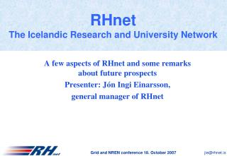 RHnet The Icelandic Research and University Network