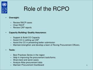 Role of the RCPO