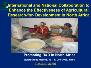 Promoting R&D in North Africa 			Expert Group Meeting, 15 – 17 July 2008,  Rabat